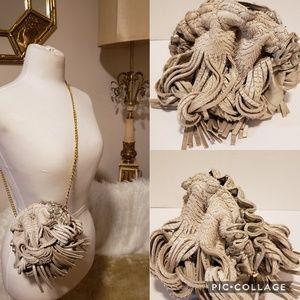 Katherine Kwei Taupe  Leather Fringe Handbag